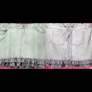 Torrid Denim Gray Denim Ruffle Mini Skirt Sz 14